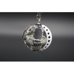 Pendentif perle en verre de murano noir et argent pur