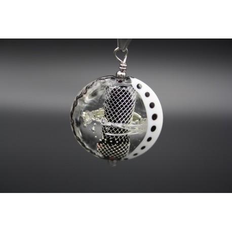 Pendentif perle en verre de murano argent