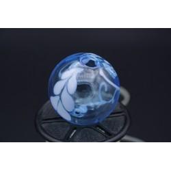 Perle bleu transparent verre de murano soufflée