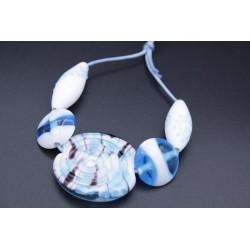Kit perles bleu et blanc en verre de Murano
